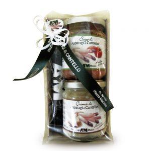 Confezione regalo con sugo e crema di asparagi